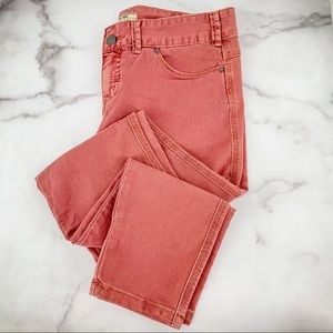 FREE PEOPLE Faded Red Mid Rise Skinny Jeans Sz 28